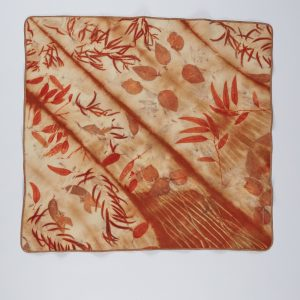 Wet felted and eco printed lap blanket by Nicola Brown